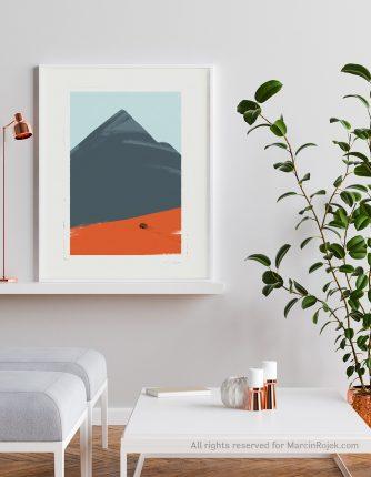 Kamper i góra ilustracja